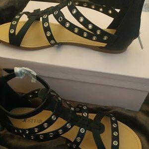 Black zip up sandals